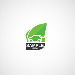 Ecological clean Transport, Green Car logo.
