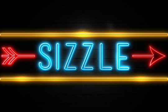 Sizzle  - fluorescent Neon Sign on brickwall Front view
