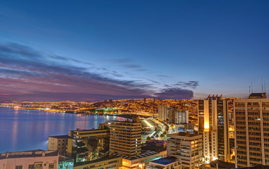 Valparaiso in Chile with the Pacific Ocean before sunrise