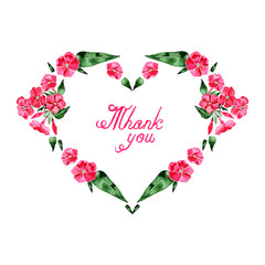 Watercolor illustration of Phlox flowers heart frame. Calligraphic design for Valentine's Day or weddings. Greeting cards