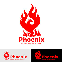 Phoenix logo creative logo of mythological bird Fenix, a unique bird - a flame born from  ashes. Silhouette of a fire bird. Logo template in form of fire and bird coming out of flame and sparks.