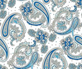 Vintage flowers seamless paisley pattern