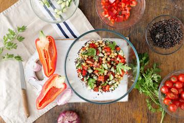 Summer Vegetarian Salad with Ingredients for cooking vegetarian healthy salad