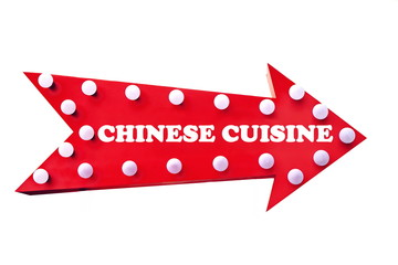 Vintage Red Arrow With Light Bulb And Sign Chinese Cuisine