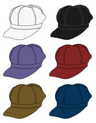 newsboy cap illustration /  color variations