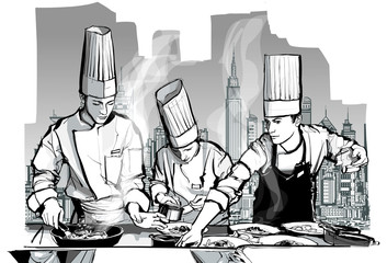 Poster de jardin Art Studio Chefs in a restaurant kitchen cooking