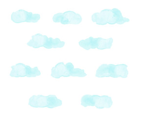 Set of light blue abstract clouds. Watercolor imitation. Hand drawn clouds. Vector illustration.