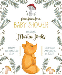 Baby shower invitation with fox, mushrooms, flowers, leaves and fern. Cute cartoon character. Hand drawn vector illustration in watercolor style