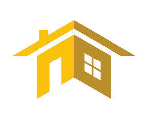 yellow silhouette home house residential architect image icon vector