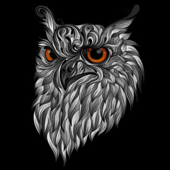 Gray vector owl with fiery eyes on a black background