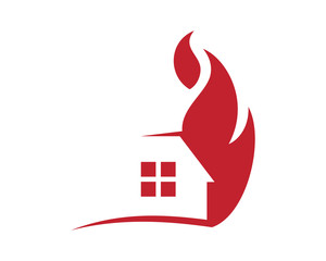 burning fire home house residence architecture building icon image vector