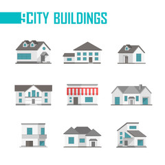 Nine low-storey city buildings set of icons - vector illustration