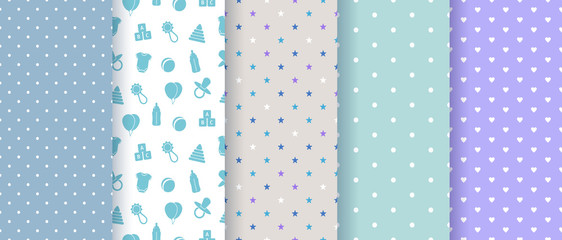 Seamless patterns for baby boy shower party. Set of cute pink backgrounds for invitation templates, scrapbook, cards. Vector illustration.
