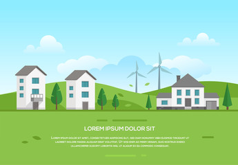 Ecofriendly town with windmills - modern vector illustration