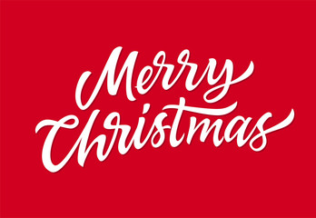 Merry Christmas - vector hand drawn brush pen lettering