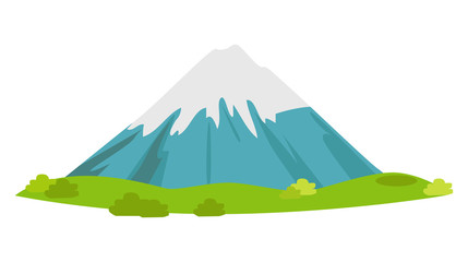 Snowy Mountain with Green Meadow at Foot Vector