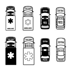 Ambulance and police cars icons on white background