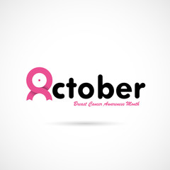 Breast Cancer October Awareness Month Campaign Background.Women health vector design.Breast cancer awareness logo design.Breast cancer awareness month icon.Realistic pink ribbon.Pink care logo