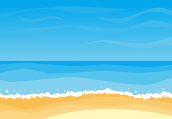 Vector landscape with summer beach. Waves of the sandy beach, blue sky and sea. Landscape vector illustration.