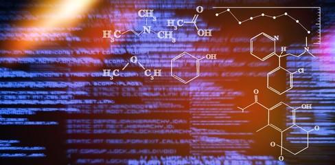 Composite image of digital image of chemical formulas
