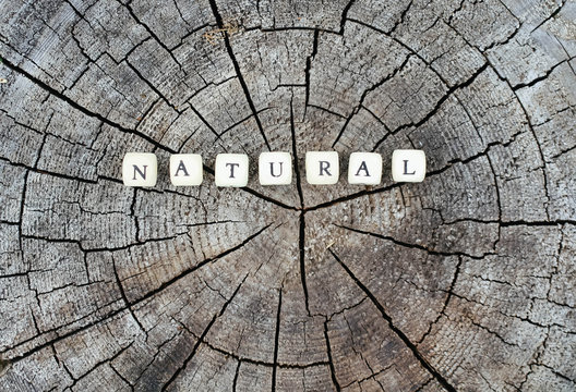 Word natural of wooden alphabet beads on a tree stump surface in the forest.