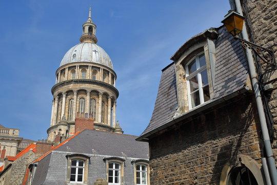 The Basilica of Notre Dame with roofs in the foreground, Boulogne sur Mer, Cote d'Opale, Pas de Calais, Hauts de France