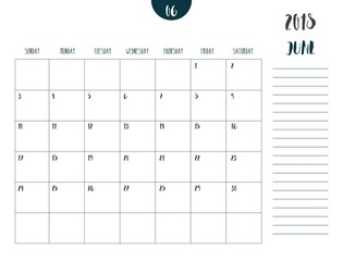 Vector of calendar 2018 ( june ) in simple clean table style with note line in earth tone color theme,full size 21 x 16 cm,Week start on Sunday.