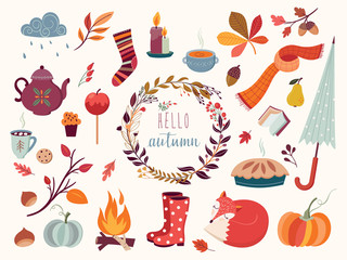 Autumn collection with hand drawn decorative elements, vector design