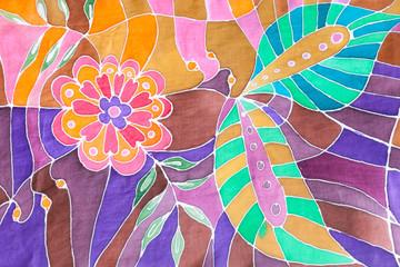 hand drawn floral ornament on silk batik scarf