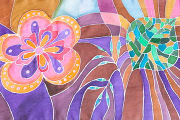 hand drawn floral pattern on silk batik scarf