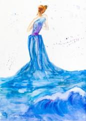 woman in blue evening dress from ocean water