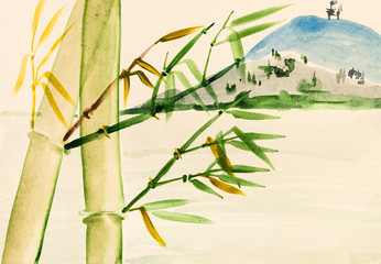 bamboo grove and view of mount
