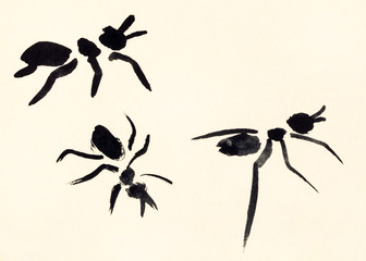 three ants hand painted on cream colored paper