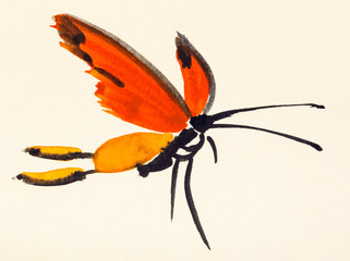 butterfly with red wings hand painted on paper