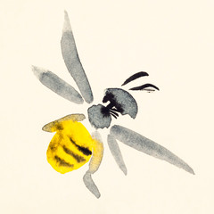 bee hand painted on cream colored paper