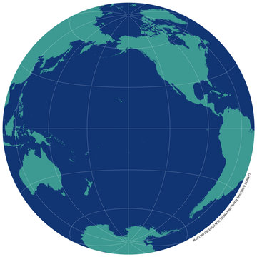Detailed vector map of the Pacific Ocean and surrounding continents