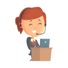 Businesswoman character sitting with laptop and headset, call center operator with a headset cartoon vector Illustration