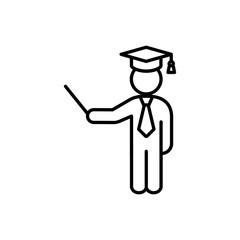 teacher lecturer with graduation cap and tie line black icon