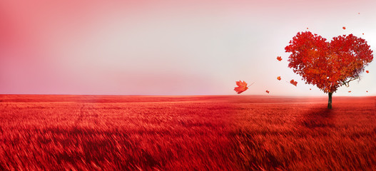 Fototapeten Rosa hell Tree of love. Red heart shaped tree at sunset. Beautiful landscape with red tree and falling leaves.Love background