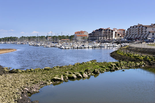 Port and town of Capbreton, a commune in the Landes department in Nouvelle-Aquitaine in southwestern France.