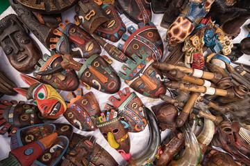 indigenous quechua face masks made of wood in Ecuador