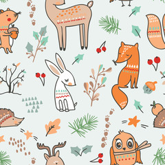 Cute animalistic seamless pattern. Vector illustration. with fox, elk, deer, rabbit, hedgehog, owl and a little squirell in a forest.