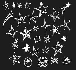 Set of Doodle star Hand drawn Sketch line vector illustration eps10