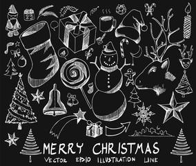 Set of Doodle christmas Hand drawn Sketch line vector illustration eps10