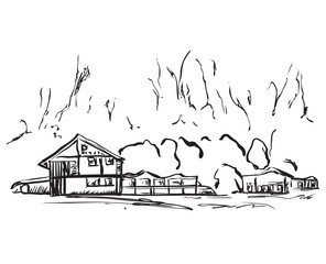 Landscape with Trees and House. Hand drawn sketch.