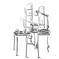 Hand drawn workplace. Office interior