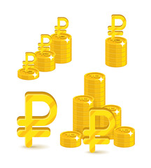Piles gold rubles isolated cartoon set. A lot of stacks and slides of gold rubles and ruble signs for designers and illustrators. Gold bunches of pieces in the form of a vector illustration