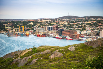 St. John's cityscape, capital city of Newfoundland and Labrador, Canada