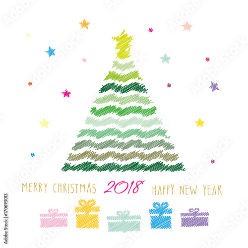 Merry Christmas And Happy New Year 2018 Card Colour Pencils Drawing Sketch Design