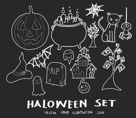 Set of Doodle halloween Hand drawn Sketch line vector illustration eps10